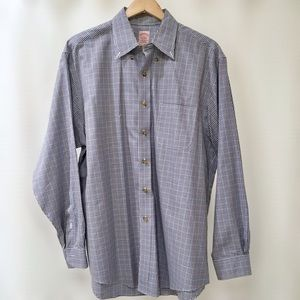 Brooks Brothers Blue Checked Button-Down Shirt, L